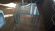 Стол стеклянный Вулкано,  набор их 3 столов,  цвет прозрачный - foto 0