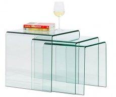 Стол стеклянный Вулкано,  набор их 3 столов,  цвет прозрачный - main